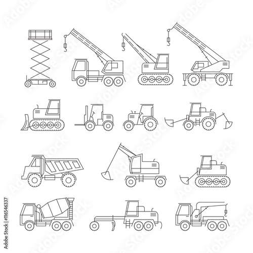 Construction Vehicles Objects Line Set, Side View, Heavy