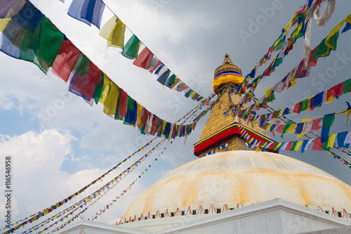 Staande foto Nepal Picture of Boudhanath Stupa in the Kathmandu valley with clouds the sky Nepal. Horizontal photo.