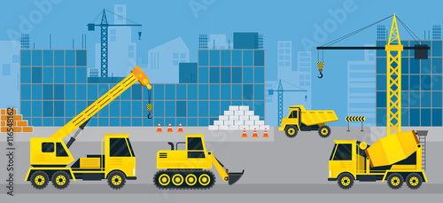 Construction Vehicles On Site Background Heavy Equipment Machinery Engineering