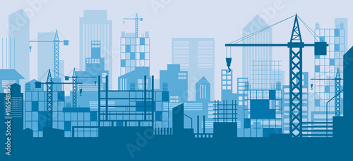 Construction Skyline, Scene, Blue Background, Site, City, Urban, Facility