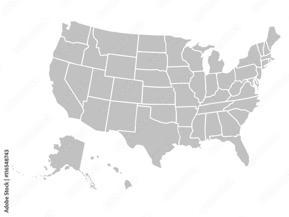 Fototapety, obrazy: Blank similar USA map isolated on white background. United States of America country. Vector template for website, design, cover, infographics. Graph illustration.