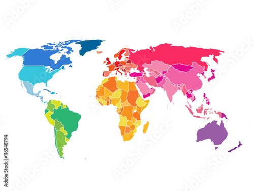 Photo Political World Map. Detailed World map of rainbow colors.