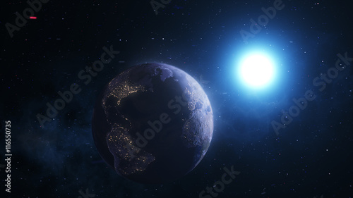 In de dag Ochtendgloren Realistic Scenes, The Planet Earth With the Sun and Stars in the Background in 4k