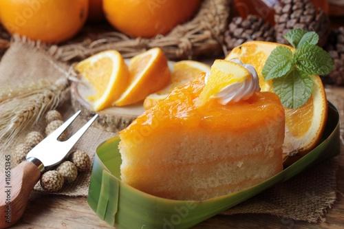 Garden Poster Juice Orange cake with oranges fruits is delicious.