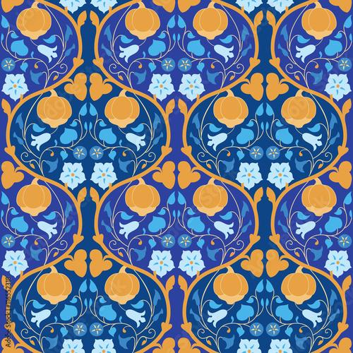Foto auf AluDibond Ziehen Pumpkin and bindweed seamless pattern
