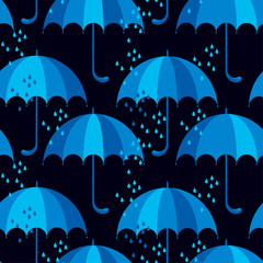 blue umbrella icon flat. cute rain drop seamless pattern on blac