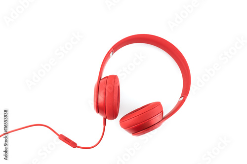 Photo  Red headphone on white baclground