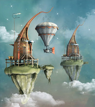 Fantasy Flying Town With Hot A...