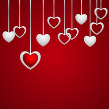 Hearts Hanging On A Red Background, Banner Or Card For Your Writing, Stylish Vector Illustration EPS10