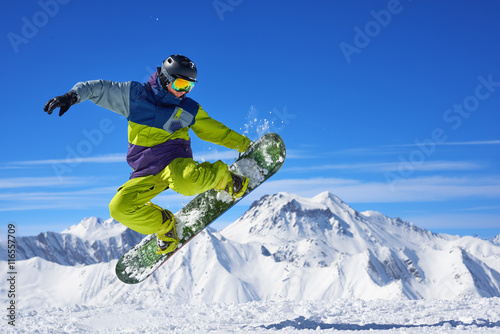 Acrylic Prints Winter sports Snowboarder doing trick