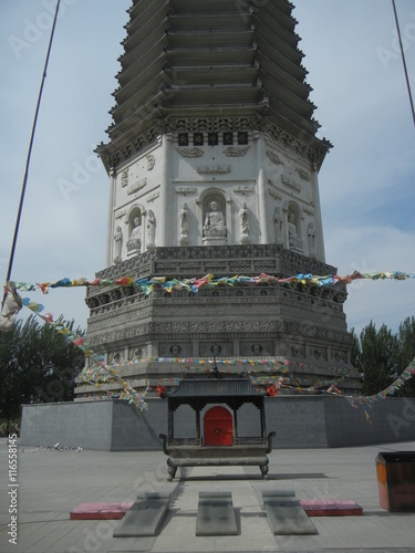 Fotografie, Obraz  Religious banner at White Pagoda Temple, Shenyang, Liaoning Province, China