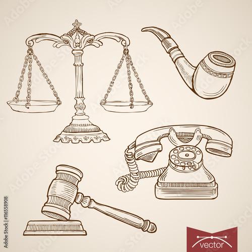 Fényképezés  Engraving vintage hand drawn vector law detective justice Sketch