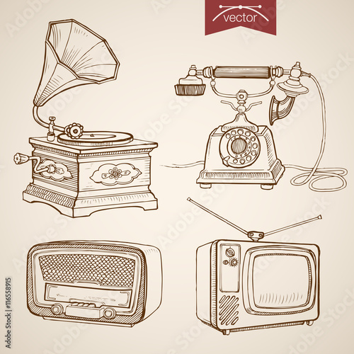 Valokuva Engraving vintage hand drawn vector Gramophone Radio TV Sketch