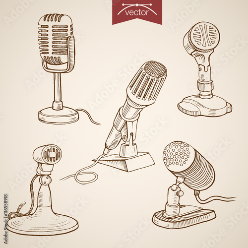 Engraving vintage hand drawn vector recording microphone Sketch Canvas-taulu