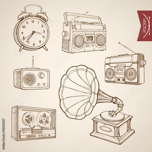 Valokuvatapetti Engraving vintage drawn vector music sound Tape Radio Sketch