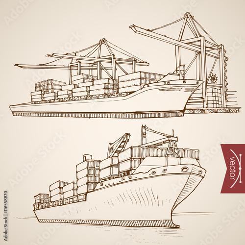 Engraving vintage hand drawn vector Ship cargo container Sketch Canvas-taulu