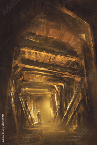 Foto op Aluminium Rudnes inside of the mine shaft,illustration,digital painting