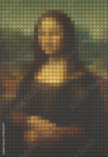 Photo  Mona Lisa from plastic building blocks, 3D rendering
