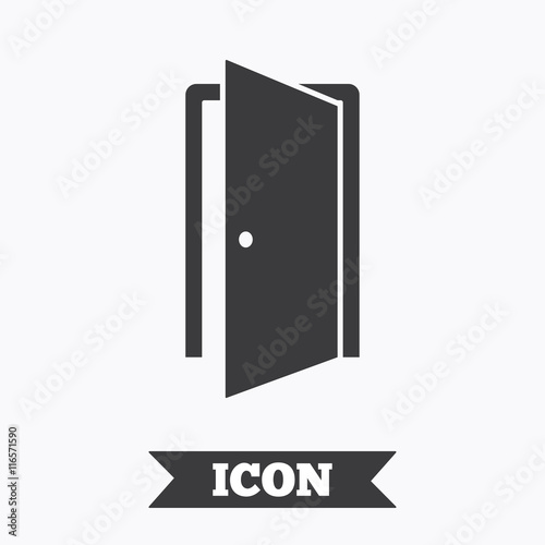 Photo Door sign icon. Enter or exit symbol.