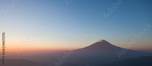 Top of mountain Fuji and sunrise sky in autumn season - 116572703