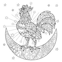 Cute Cock, Rooster On Christmas Half Moon
