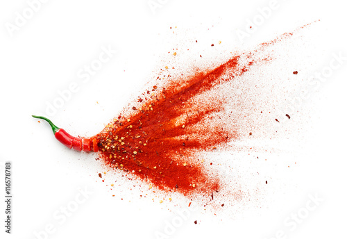 Spoed Foto op Canvas Hot chili peppers Chilli, Red Pepper Flakes and Chilli Powder