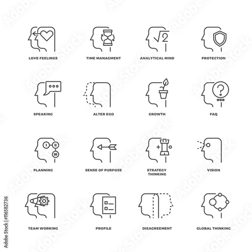 Fotografering  Human mind process, brain features line vector icons set
