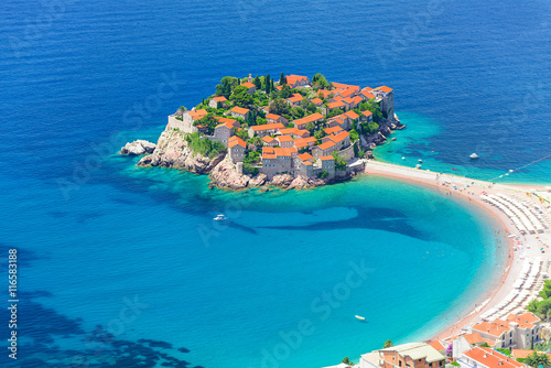 Sveti Stefan airview, islet and hotel resort in Montenegro, southeast of Budva Wallpaper Mural