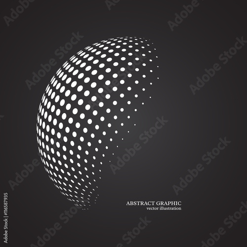 Fotografía  Abstract globe dotted sphere, 3d halftone dot effect. White colo