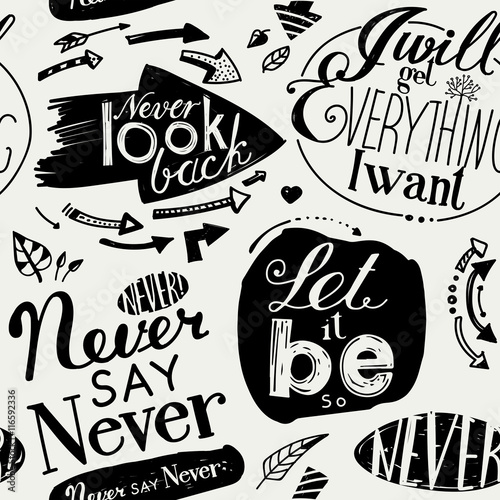 Seamless pattern of the letterings Canvas Print