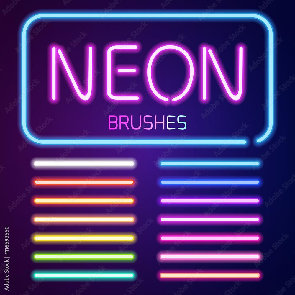 Fototapety, obrazy: Neon brushes set
