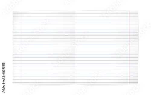 Lined Exercise book and red margin  Double pages paper sheet