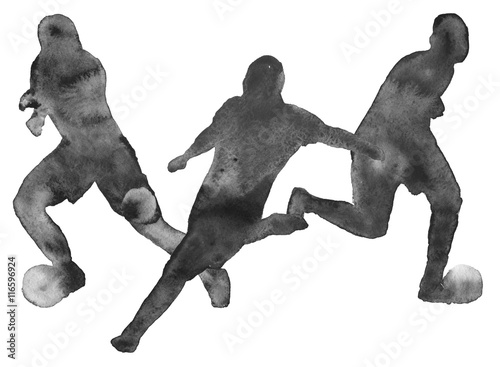 Juliste  silhouette of a man playing football. footballer. isolated. wate
