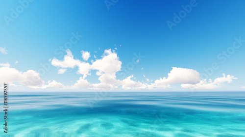 Foto auf Gartenposter Strand Tropical sea sky clouds blue 3D rendering