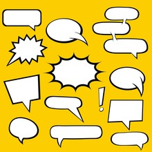 Comic Book Speech Bubbles And Yellow Background