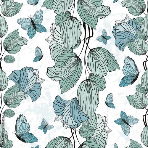Photo sur Toile Papillons dans Grunge Seamless Floral Ornament