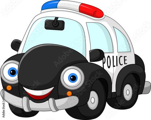 Staande foto Cartoon cars Cartoon police car character