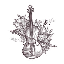Vintage Fiddle. Hand-drawn Ret...