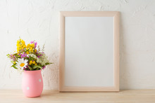Frame Mockup With Wild Flowers In Pink Vase