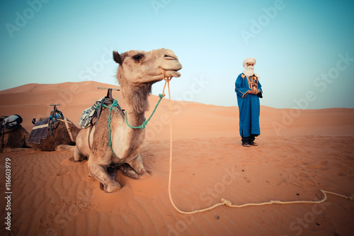 Recess Fitting Morocco Moroccan berber watching the camel caravan at sunrise in the Sahara Desert