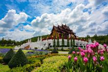 Pink Flower Gardens By The Pavilion At Royal Park Rajapruek In Chiang Mai, Thailand