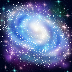 Fototapeta Kosmos Blue Spiral Galaxy with Shining Stars.
