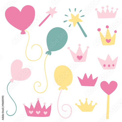 Fototapeta Cute girly illustrations - princess party