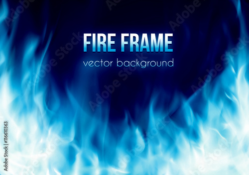 Abstract Vector Background With Blue Color Burning Fire