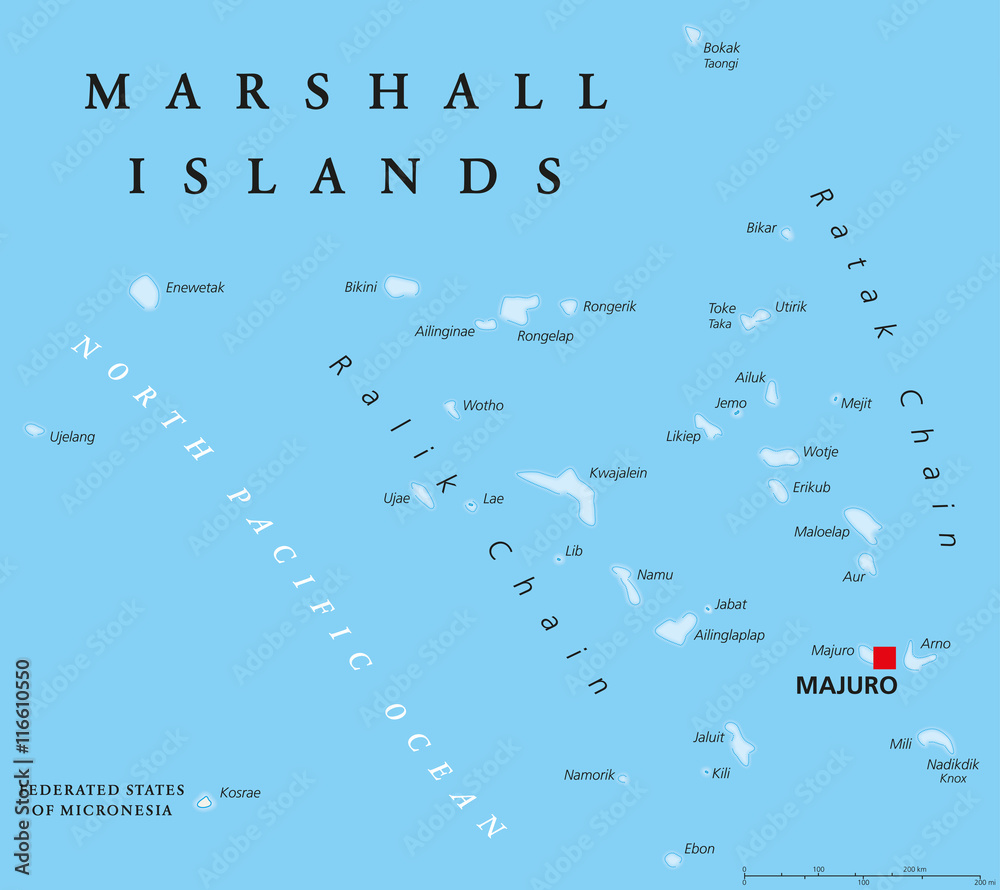 Photo & Art Print Marshall Islands political map with ...