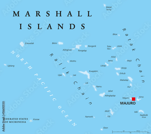 Photo Marshall Islands political map with capital Majuro