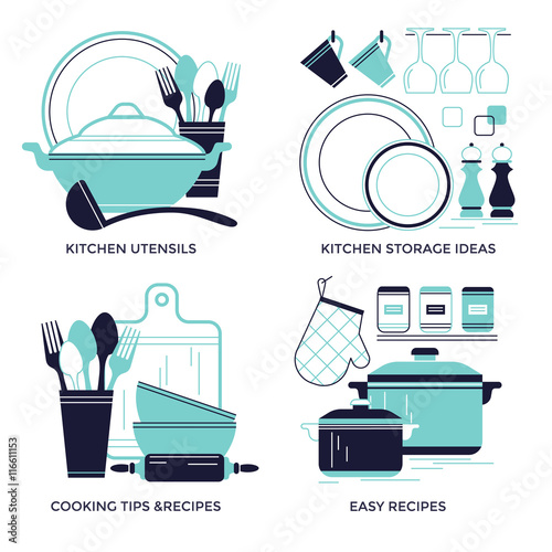 Fotomural  Cooking, dishware and kitchen utensils emblems, flat design style