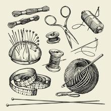 Sewing Notions. Hand Drawn Thread, Needle, Scissors, Yarn, Knitting Needles, Crochet. Vector Illustration