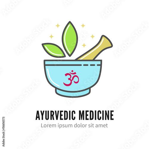 Mortar and pestle alternetive ayurvedic medicine logo, vector logo ...