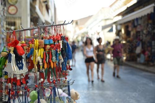 Fototapeta Tourist walk on the streets of Plaka historical area Athens Greece obraz na płótnie